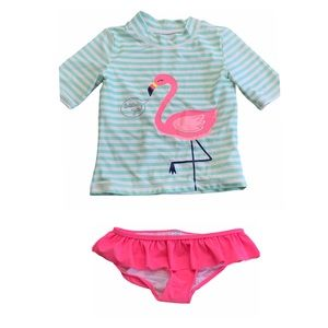 CARTERS Flamingo stripe rash guard 2 piece Swim